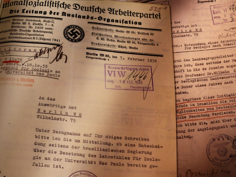 Documents written in German containing a swastika